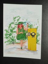 """Postkarte aus der Serie """"Die kleine Madame reist"""" Motiv 121"""