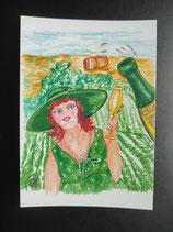 """Postkarte aus der Serie """"Die kleine Madame reist"""" Motiv 42"""