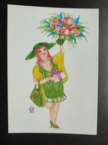 """Postkarte aus der Serie """"Die kleine Madame reist"""" Motiv 137"""