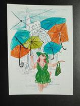 """Postkarte aus der Serie """"Die kleine Madame reist"""" Motiv 54"""