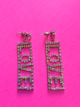 Rhinestone Love Earrings