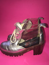 Chunky Silver Transparant Glitter Boots