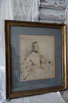 Wunderschöne antike Zeichnung im Bilderrahmen Frankreich