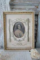 RAR: Antiker Rahmen Seide bestickt Frankreich 19. Jahrh.