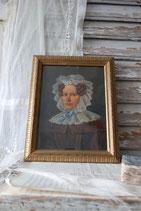 Antikes Porträt einer Dame mit Haube, 19. Jahrhundert