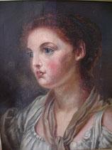 Antikes Porträt Ölgemälde Mitte 19. Jahrhundert