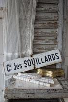 Altes französisches Emaille Ortsschild Cr. des Souillards
