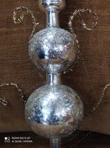 Natale puntale in vetro soffiato e argento