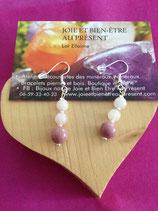 Boucles 2 perles de quartz rose (6 mm) et 1 perles de rhodonite (8mm) avec crochets argent 925