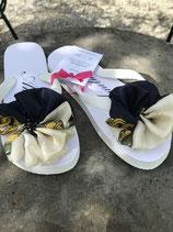 Flip Flop weiss, Grösse 36-38, Flores aus einem wunderschönen Seidenfoulard