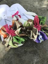 Flip Flop weiss, Grösse 36-38, Flores aus einem bunten Seidenfoulard