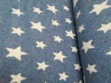 Baumwoll-Fleece rauchblau mit weißen Sternen, Grundpreis: 19,90€/m