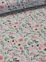 Sommersweat, French Terry weiß mit tollen rosa Blüten, Fräulein von Julie, Grundpreis: 21,90€/m