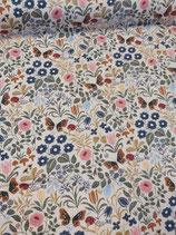 Sommersweat, French Terry creme/beige mit bunten Blumen in Stick-Optik, von Swafing, Grundpreis: 19,90€/m