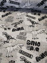 French Terry in weiß mit schwarzem Dino-Druck, von Fräulein von Julie, Grundpreis: 21,90€/m