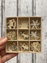 Holzbox Ornamente weihnachtliche Streuer verschiedene