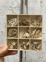 Holzbox mit Streuteilen verschiedene