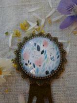 Marque page , fleur pastel
