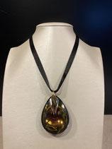 Baccarat Halskette Psydelic mit großem Anhänger Cristal Clair Scarabee Jaune und 750/000 Gelbgold