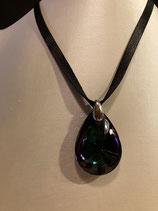 Baccarat Halskette Psydelic mit mittelgroßem Anhänger Cristal Clair Scarabee Noir und 925'er Silber, rhodiniert