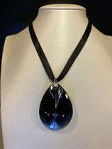 Baccarat Halskette Psydelic mit großem Anhänger Cristal Clair Scarabee Noir und 925'er Silber, rhodiniert