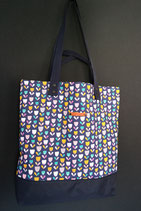 173. Freizeittasche Lila Blume Baumwolle/ dunkelblau