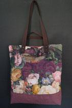 83. Freizeittasche Kunst Blume Canvas/ rotlila