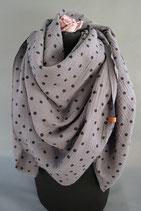 .. Schal Quadrat grau Punkte Baumwolle ca 145 cm