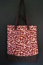 194. Freizeittasche rotwein Blume Cord/ dunkelbraun