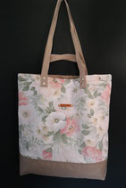 108. Freizeittasche Cremeweiß Blume Baumwolle/ beige
