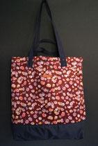 171. Freizeittasche rotwein Blume Cord/ dunkelblau