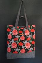 50. Freizeittasche Rose Totenkopf Baumwolle/ matt dunkelgrau