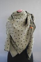 .. Schal Quadrat Oliv Punkte Baumwolle ca 145 cm