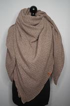 63.  Schal Quadrat Strick beige Jersey Baumwolle ca 150 cm