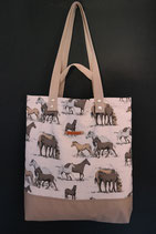 107. Freizeittasche Pferd Baumwolle/ beige