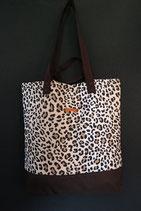 195. Freizeittasche Leopard Canvas/ dunkelbraun