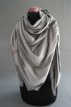 50. Schal Quadrat Jersey grau Baumwolle ca 135 cm