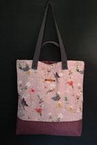 96. Freizeittasche Cremerosa Schmetterling Canvas/ rotlila
