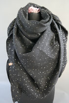 .. Schal Quadrat schwarz Gold Punkte  Baumwolle ca 140 cm