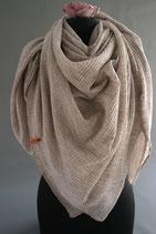 60. Schal Quadrat Jersey Beige Baumwolle ca 120 cm