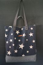 36. Freizeittasche dunkelblau Sterne Canvas/ matt dunkelgrau