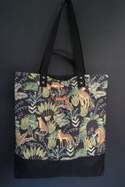 208. Freizeittasche Leopard Canvas/ schwarz