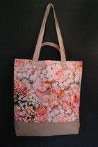 109. Freizeittasche Rose Baumwolle/ beige