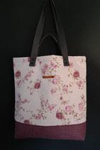91. Freizeittasche Cremeweiß Rose Canvas/ rotlila
