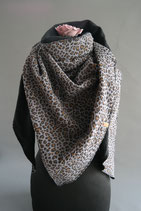 1.  Schal Dreieck Leopard/schwarz Baumwolle ca 130 cm