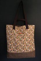 116. Freizeittasche Blume Baumwolle/ matt braun