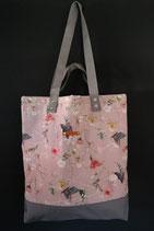 25. Freizeittasche Rosa Schmetterling Canvas/ grau