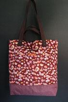 95. Freizeittasche rotwein Blume Cord/ rotlila