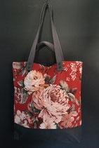 58. Freizeittasche Cremerot Blume Canvas/ dunkelgrau