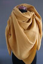 34. Schal Quadrat Senfgelb Gold Punkte Baumwolle  ca 140 cm